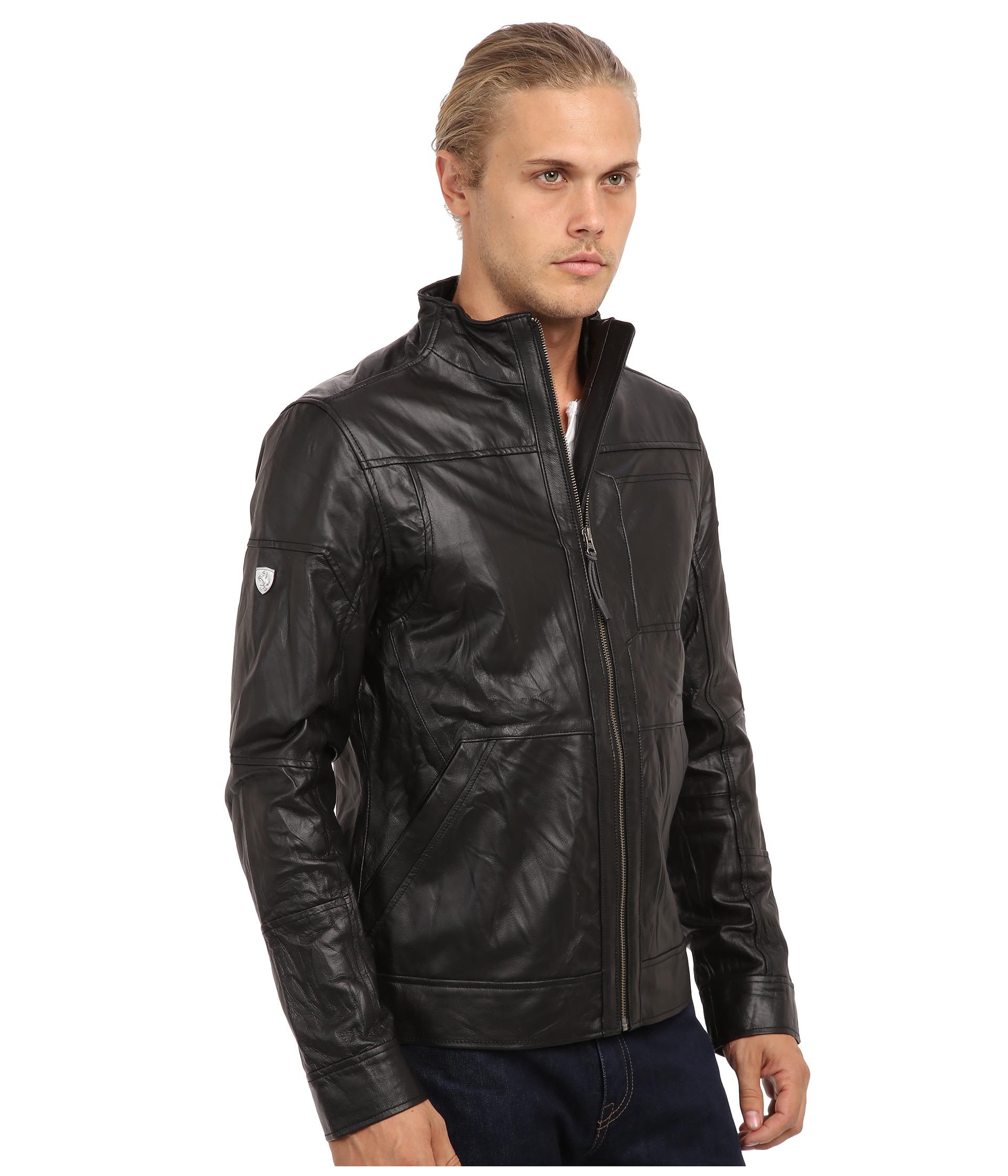 puma ferrari leather jacket shipped free at zappos. Black Bedroom Furniture Sets. Home Design Ideas
