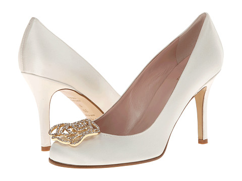 Shop Kate Spade New York online and buy Kate Spade New York Kari Ivory Satin Footwear - Zappos.com is proud to offer the Kate Spade New York - Kari (Ivory Satin) - Footwear: Adorn your feet with dynamic elegance with these stunning Kate Spade New York pumps. ; Satin, round toe pumps with broach embellishment. ; Leather lining and insole for added comfort. ; Gold-tone, rose broach with pavè stones. ; Leather outsole. ; Imported. Measurements: ; Heel Height: 3 1 4 in ; Weight: 7 oz ; Product measurements were taken using size 8, width M. Please note that measurements may vary by size.
