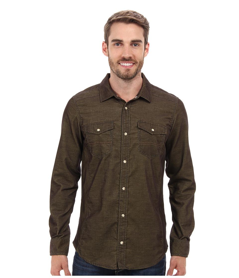 Prana - Kellan Slim Shirt Cargo Green Mens Long Sleeve Button Up $79.00 AT vintagedancer.com