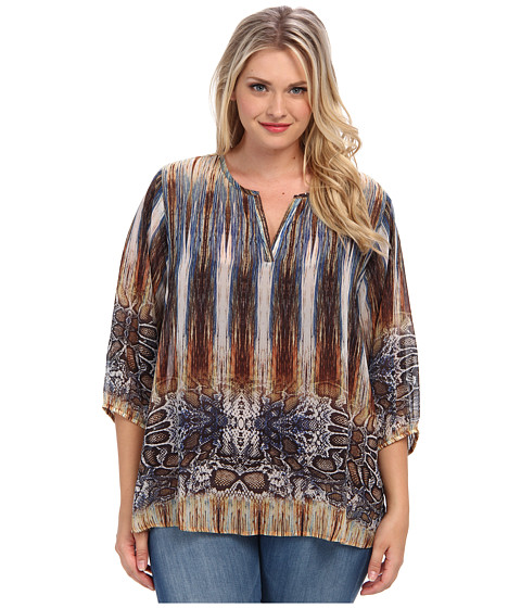 Karen Kane Plus Plus Size Three Quarter Blousen Sleeve Blouse (Print) Women's Blouse