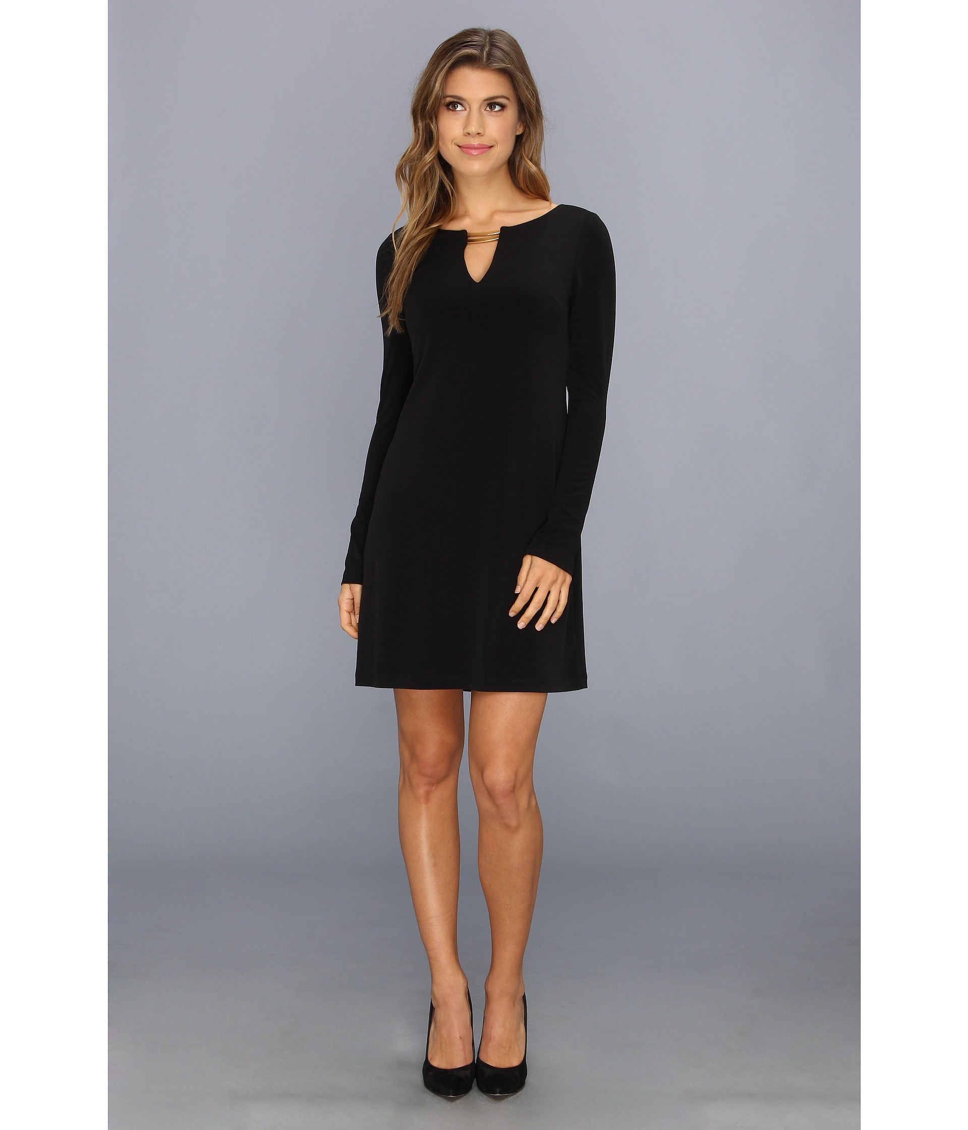 Long sleeve black shift dress - Swoon-er or Later Black Long ...