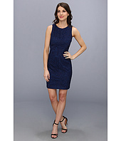 Vince Camuto - Sleeveless Mitered Lace Sheath Dress