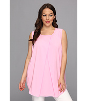 DKNYC - Plus Size Crepe De Chine Sleeveless Deep Pleat Blouse