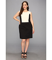 DKNYC - Plus Size Ponte Sleeveless Dress w/ Slub Weave Yoke