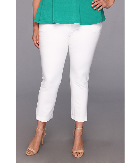 DKNYC Plus Size Super Stretch Sateen Ankle Cropped Pant (White) Women's Casual Pants
