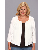 DKNYC - Plus Size Tech Crepe 3/4 Sleeve Chiffon Front Cropped Jacket