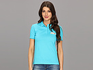Lacoste - L!VE Short Sleeve Pique Winking Croc Polo (Artesian Blue/White Lurex) - Apparel at Zappos.com