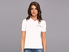 Lacoste - L!VE Short Sleeve Pique Winking Croc Polo (White/White Lurex) - Apparel at Zappos.com