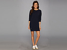 Lacoste - Long Sleeve Sweatshirt Dress (Marine/Marine-Marine) - Apparel at Zappos.com