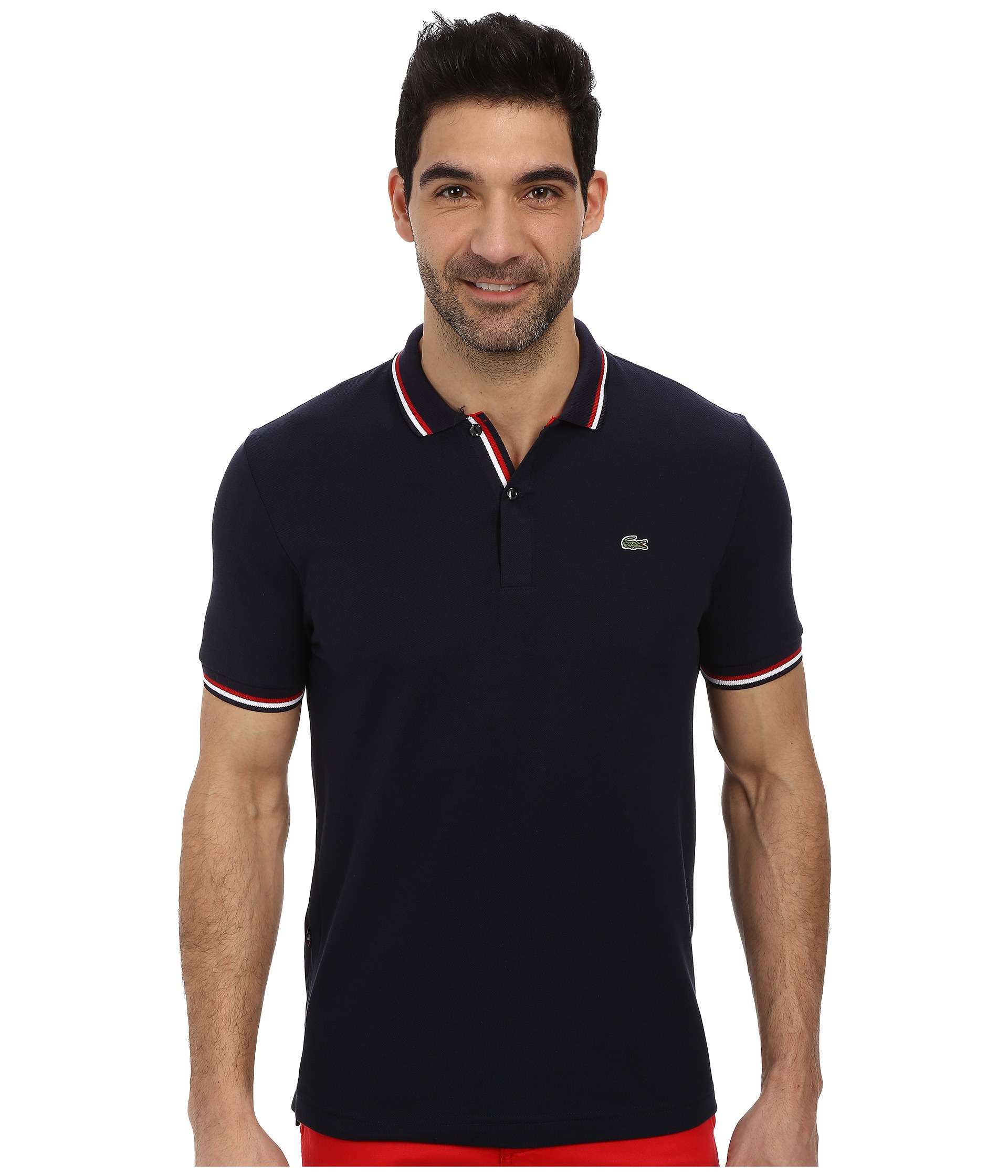 Lacoste live short sleeve semi fancy pique shirt navy blue for Tailored fit shirts meaning
