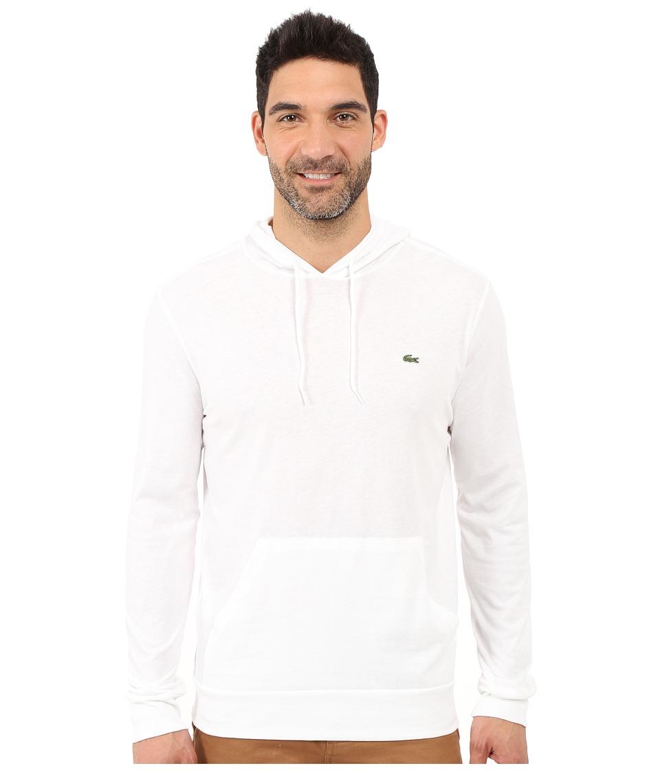 Lacoste Long Sleeve Jersey Hoodie Tee (White1) Men