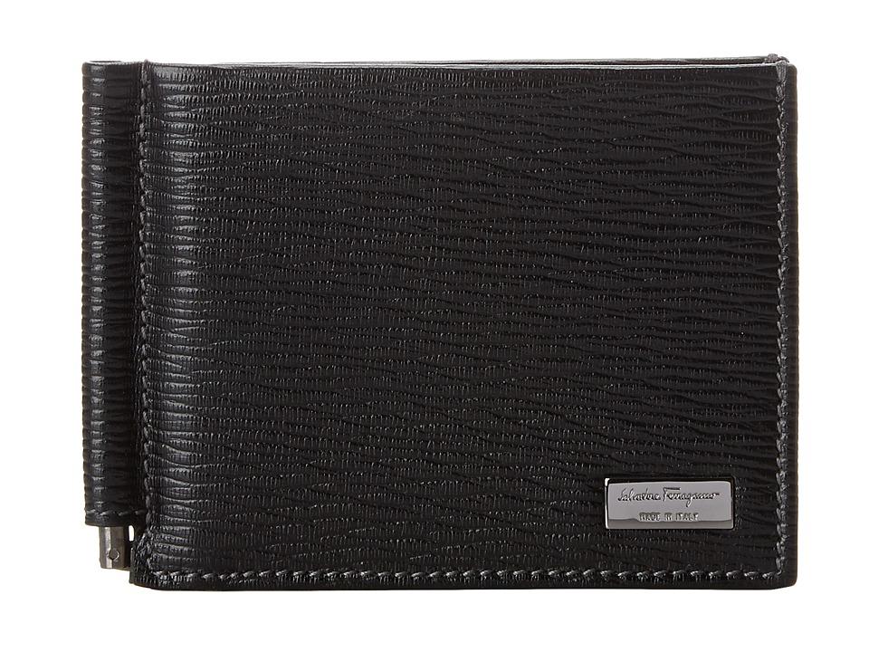 Salvatore Ferragamo - Revival Bifold Wallet with Money Clip (Nero) Handbags