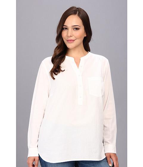 nydj plus size plus size cotton gauze shirt optic white