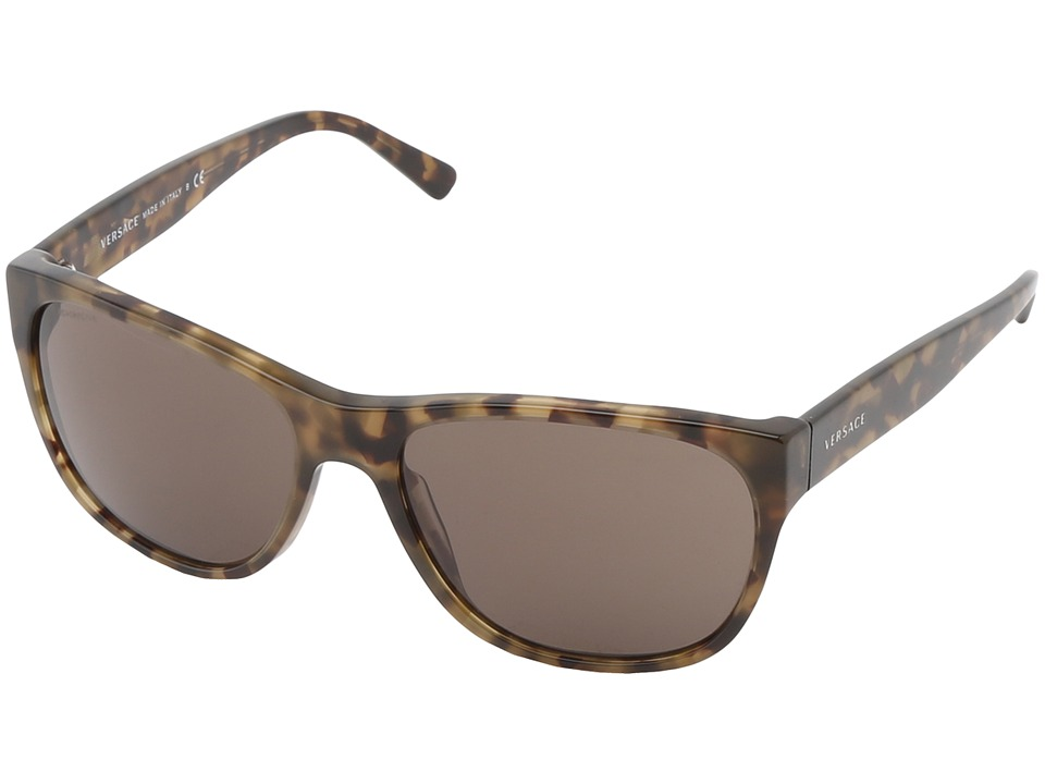 Versace VE4257 Dark Green Havana/Brown Plastic Frame Fashion Sunglasses