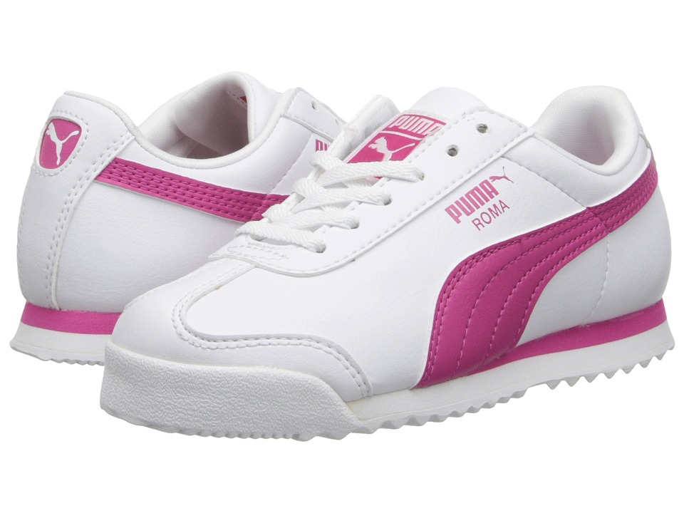 Puma Kids Roma Basics Jr (Little Kid/Big Kid) (White/Fuchsia Purple) Girls Shoes