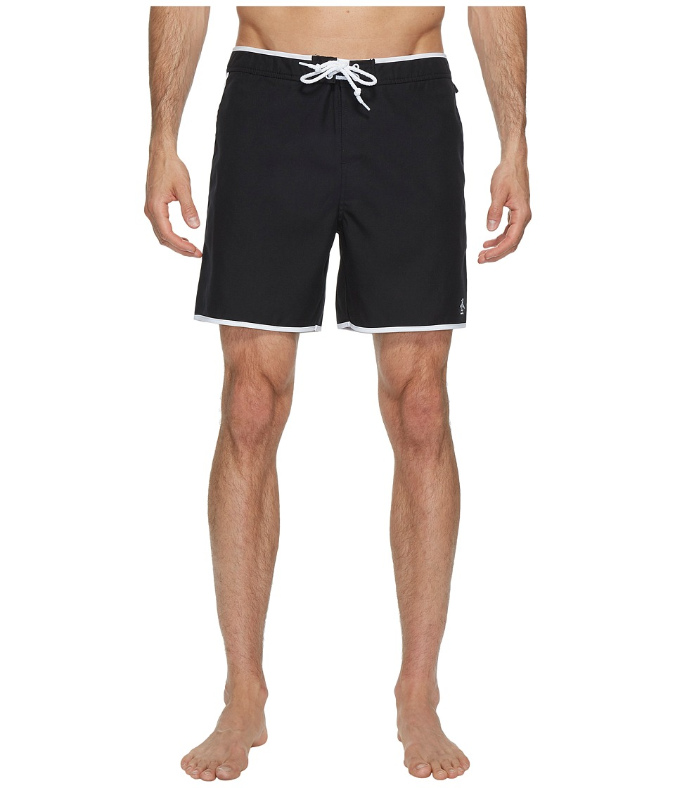 1960s Style Men's Clothing, 70s Men's Fashion Original Penguin - Earl Volley Swim Short True Black Mens Swimwear $54.95 AT vintagedancer.com