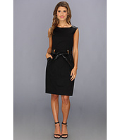 Ellen Tracy  Sleeveless Belted Sheath With Pu Trim  image