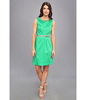 Ellen Tracy  Sleeveless Cotton Fit And Flare With Striped Belt  image