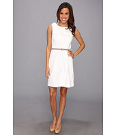 Ellen Tracy - Sleeveless Cotton Fit And Flare With Striped Belt
