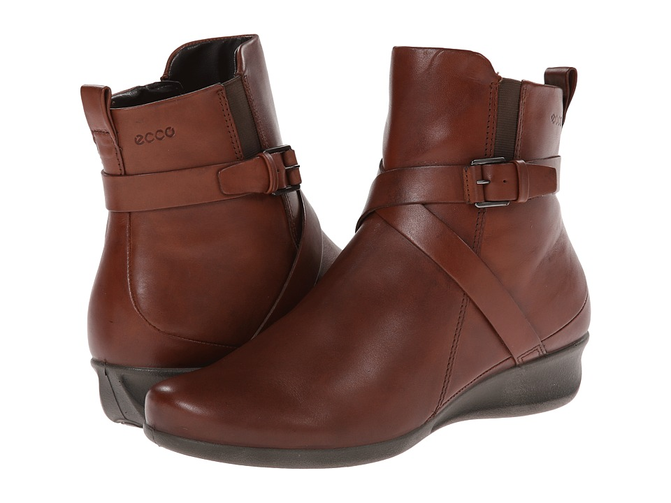 ECCO Abelone Cross Buckle Boot Mahogany Womens Boots