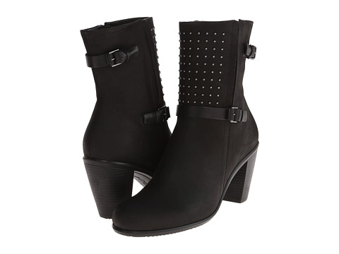 ECCO - Touch 75 Mid Cut Bootie (Black/Black Cow Silk) - Footwear
