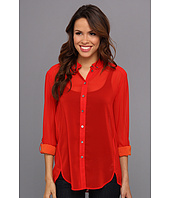 TWO by Vince Camuto - L/S Two Tone Roll Tab Shirt