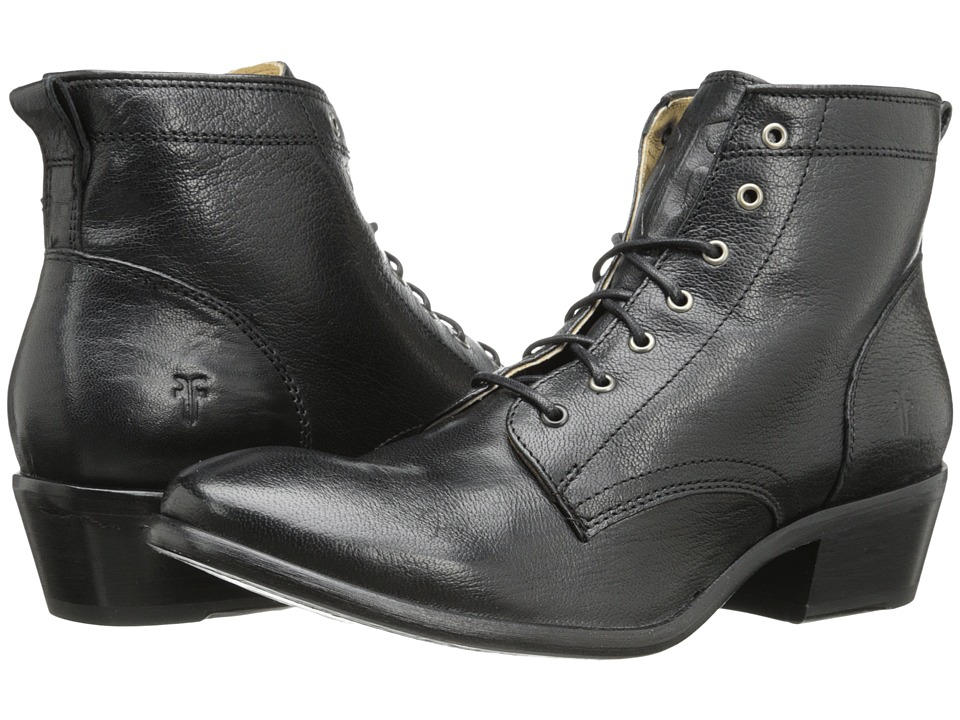 Frye - Carson Lace Up Black Washed Antique Pull Up Cowboy Boots $298.00 AT vintagedancer.com