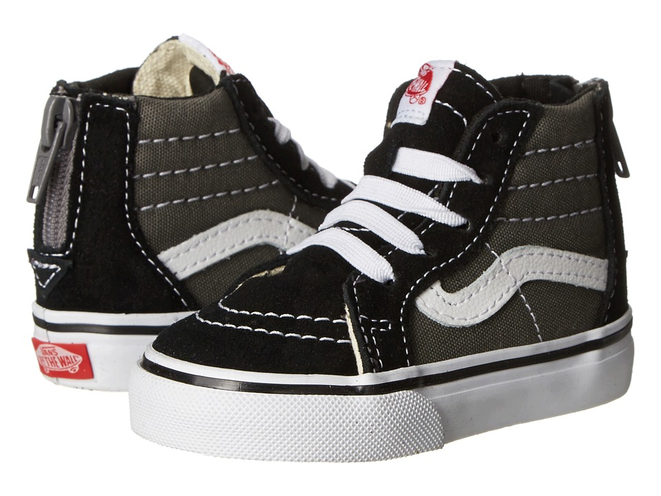 Vans Kids Sk8-Hi Zip (Toddler) ((2 Tone) Black/Charcoal) Boys Shoes