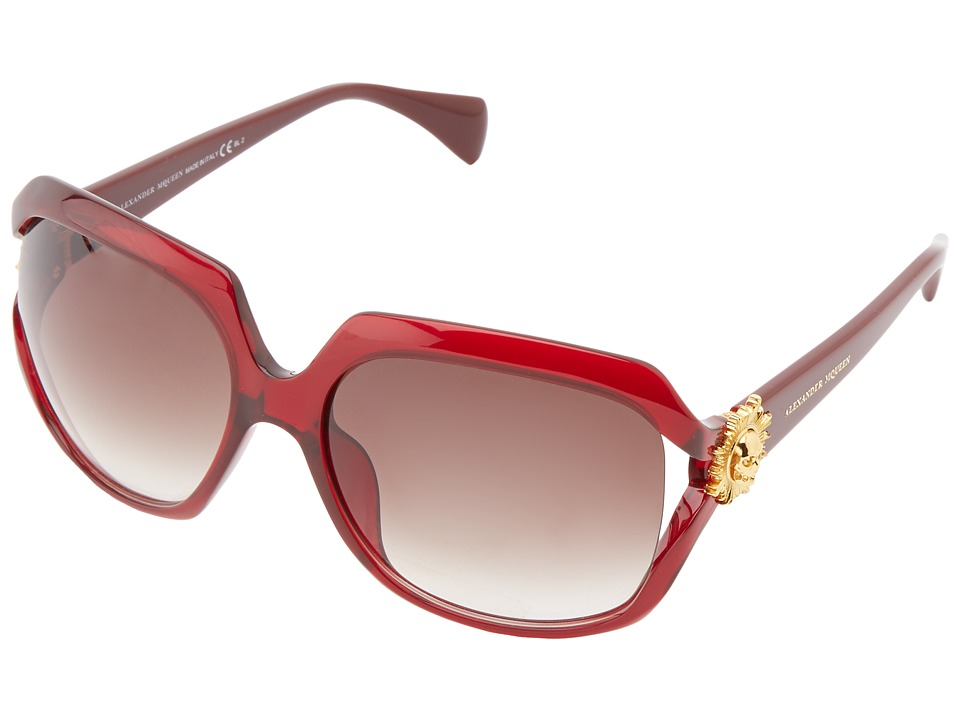 Alexander McQueen AMQ 4244/S Transparent Red/Grey Gradient Plastic Frame Fashion Sunglasses