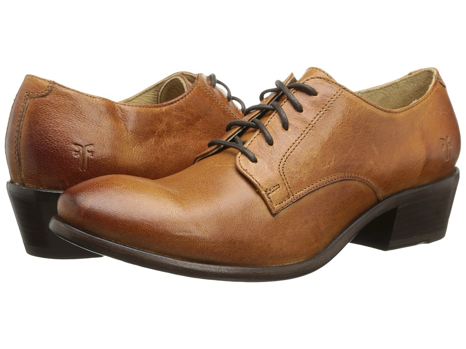 Frye - Carson Oxford Cognac Washed Antique Pull Up Womens Lace up casual Shoes $248.00 AT vintagedancer.com
