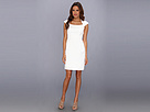 Donna Morgan - Lace and Diamond Jacquard Seamed A-Line Dress with Extended Raglan (Ivory) - Apparel