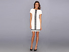 Donna Morgan - Short Sleeve Sheath with Leather Laser Cut Detail Center Front (Ivory/Black) - Apparel