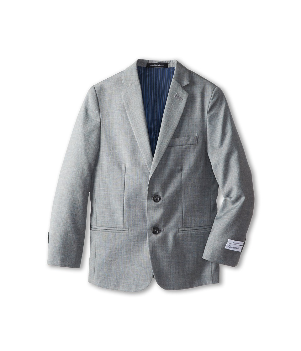 Calvin Klein Kids - Sharkskin w/ Blue Deco Jacket (Big Kids) (Light Grey) Boys Jacket