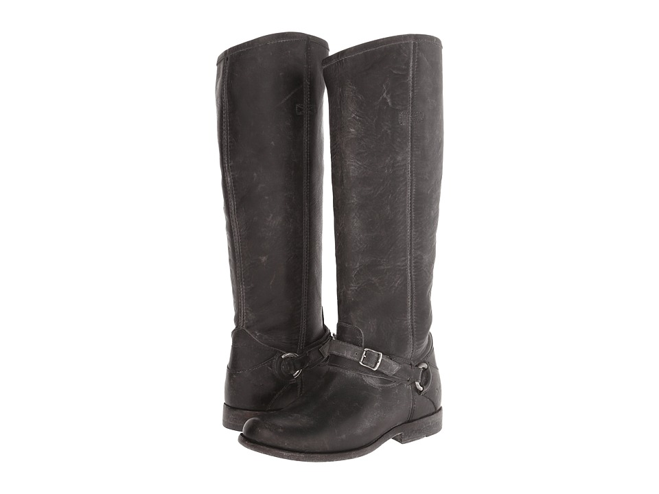 Frye Phillip Ring Tall Black Polished Stonewash Womens Pull on Boots