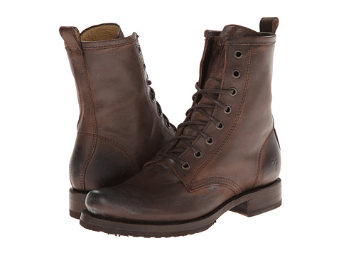 Shop Frye online and buy Frye Veronica Combat Dark Brown Burnished Antiqued Leather Shoes - Frye Veronica Combat Dark Brown Burnished Antiqued Leather Shoes: Take care of business with the Veronica Combat boot. ; Pebbled full-grain leather upper with a burnished finish. ; Classic lace-up closure. ; Round toe. ; Leather lined. ; Cushioned shock-absorbing leather insoles. ; Pull tab on back. ; Leather stacked heel with a rubber lug lift. Measurements: ; Heel Height: 1 1 4 in ; Weight: 1 lb 1 oz ; Circumference: 10 1 2 in ; Shaft: 7 in ; Product measurements were taken using size 7.5, width B Medium. Please note that measurements may vary by size.