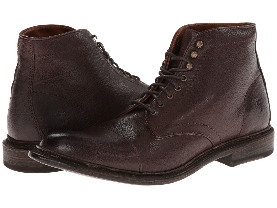 Frye - Jack Lace Up (Dark Brown Buffalo Leather) Men