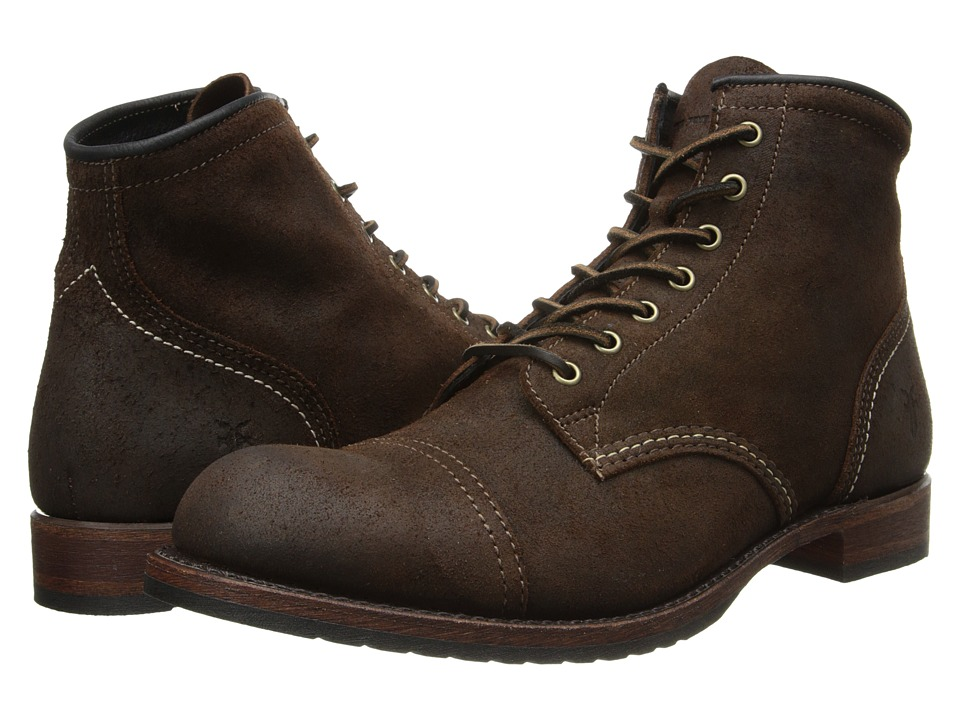 Frye - Logan Cap Toe (Dark Brown Waxed Suede) Cowboy Boots