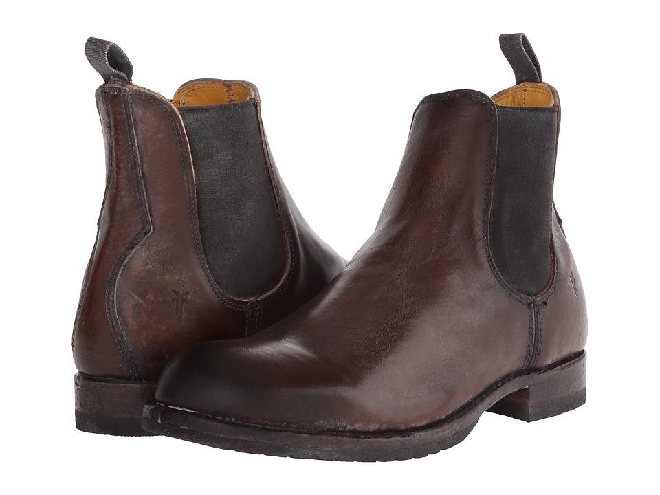 Frye - Logan Chelsea (Dark Brown Polished Stonewash) Men