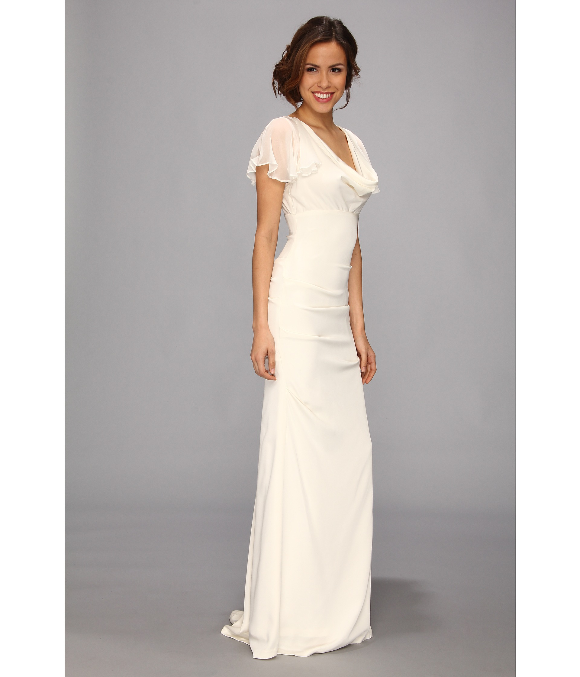 Nicole miller silk stretch flutter sleeve bridal gown for Flutter sleeve wedding dress