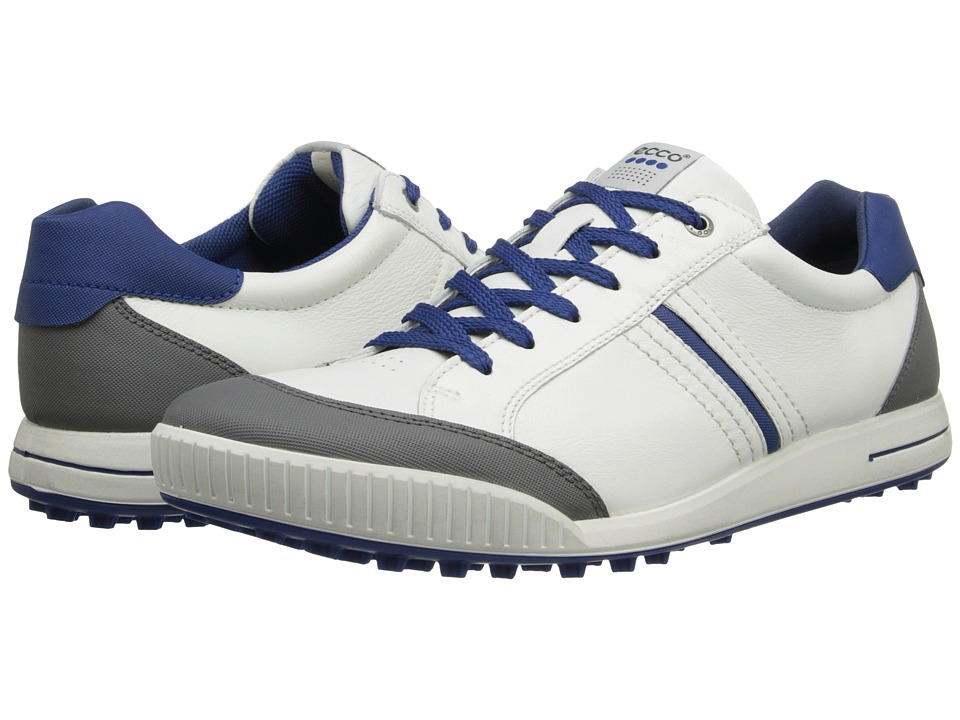 ECCO Golf Street Hybrid White/Titanium/Royal Mens Golf Shoes