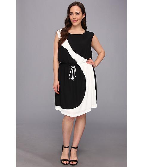 Vince Camuto Plus Plus Size S/S Curved Colorblock Dress (Rich Black) Women's Dress
