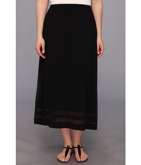Vince Camuto Plus - Plus Size Maxi Skirt w/ Chiffon Inset (Rich Black) - Apparel