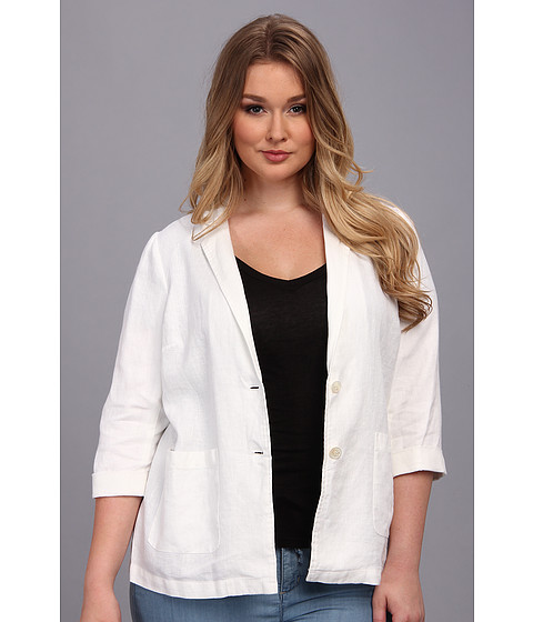 Vince Camuto Plus Plus Size Linen Boyfriend Two Button Jacket (New Ivory) Women's Jacket