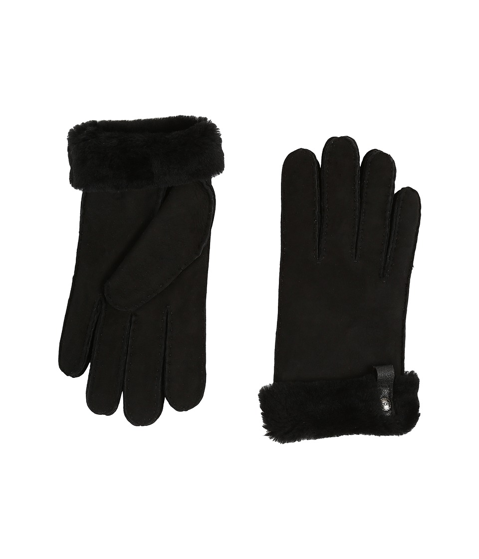 UGG Tenney Glove with Leather Trim (Black M) Dress Gloves