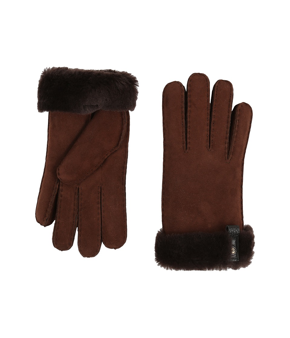 UGG Tenney Glove with Leather Trim (Chocolate M) Dress Gloves