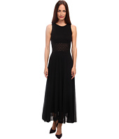 Jean Paul Gaultier - Solid Tulle Sleeveless Maxi Dress w/ Fishnet Waist