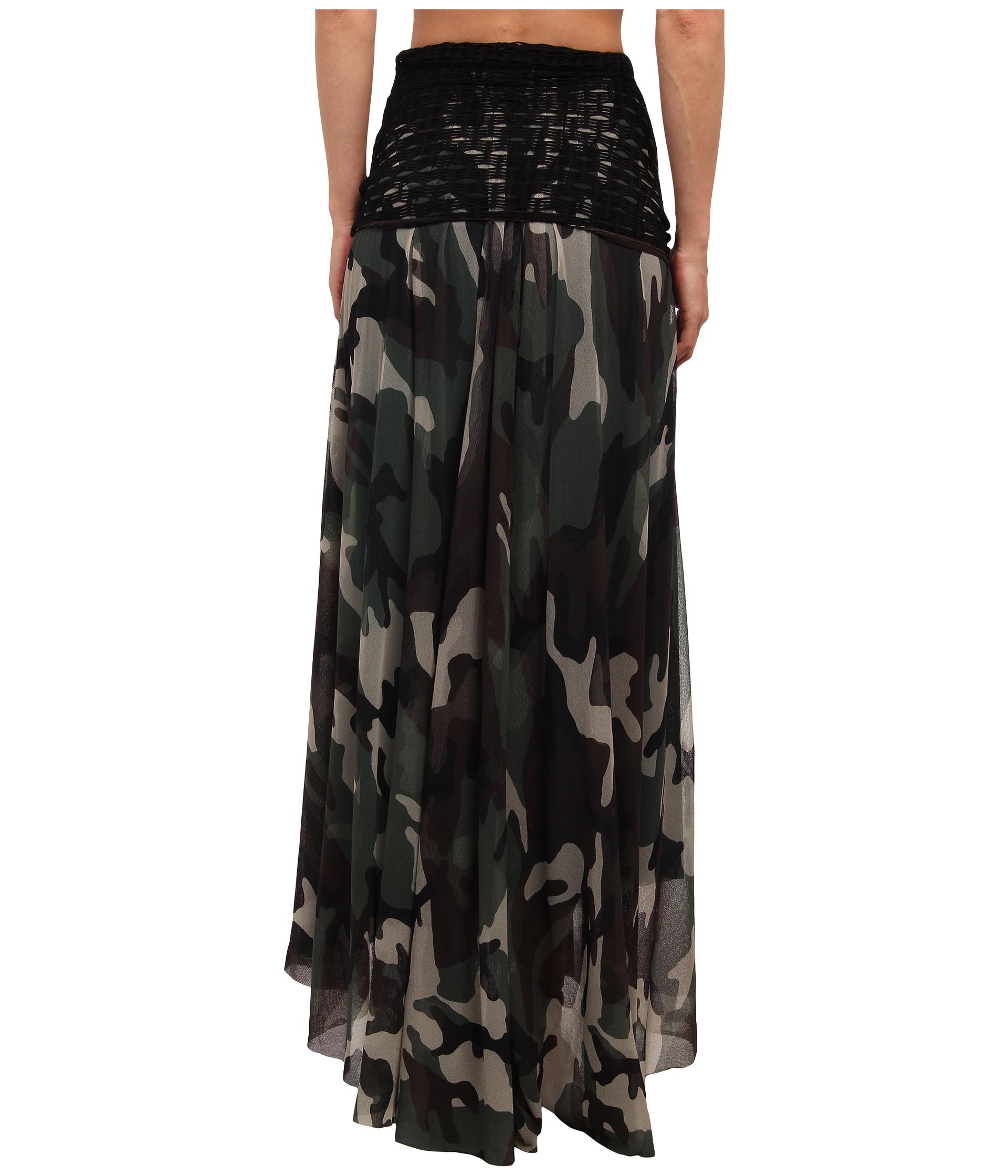 jean paul gaultier camo tulle maxi skirt w fishnet waist