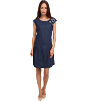 LOVE Moschino - Denim Cap Sleeve Dress With Floral Detail On Left Chest