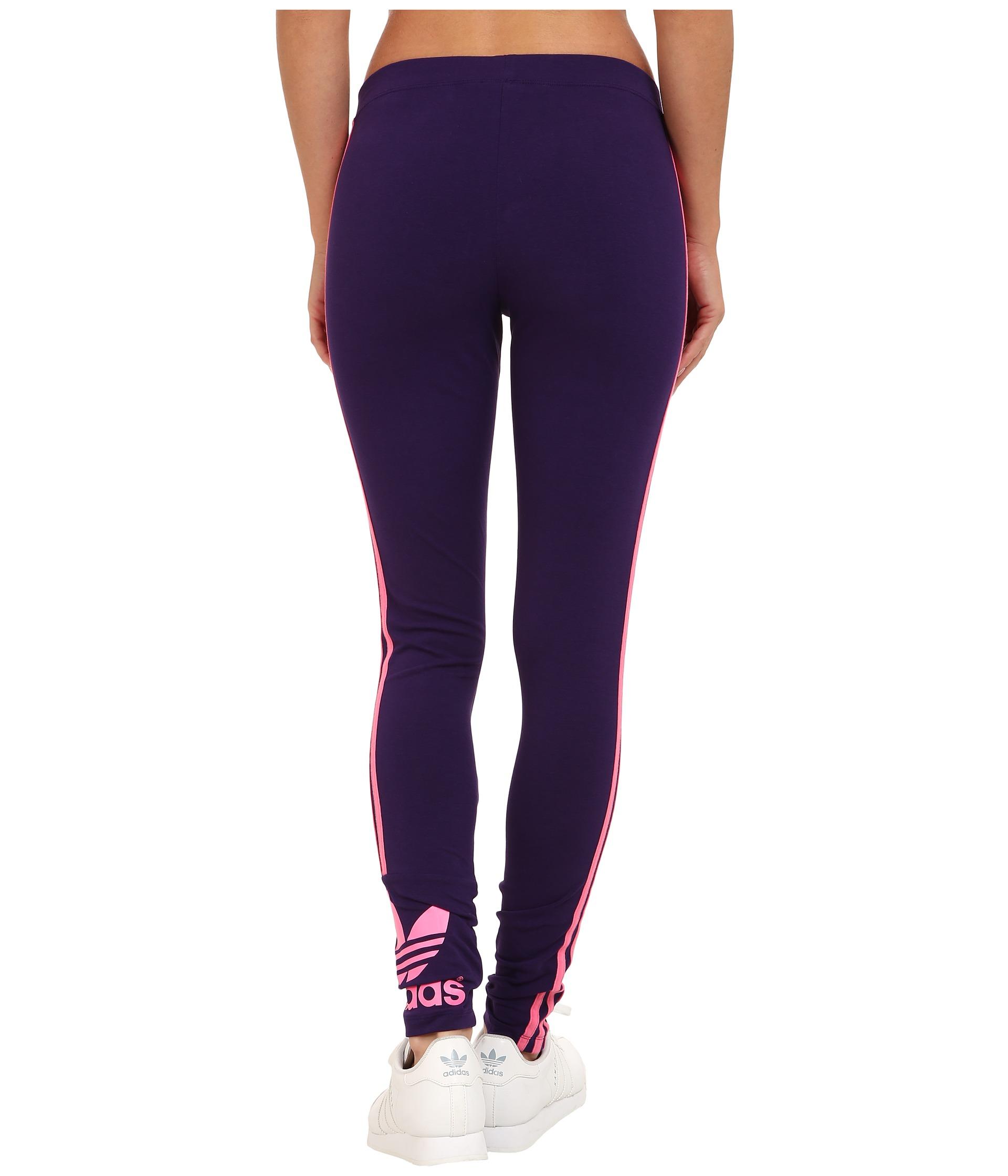 adidas originals 3 stripes trefoil leggings yoga gym m34745 eggplant pink new ebay. Black Bedroom Furniture Sets. Home Design Ideas