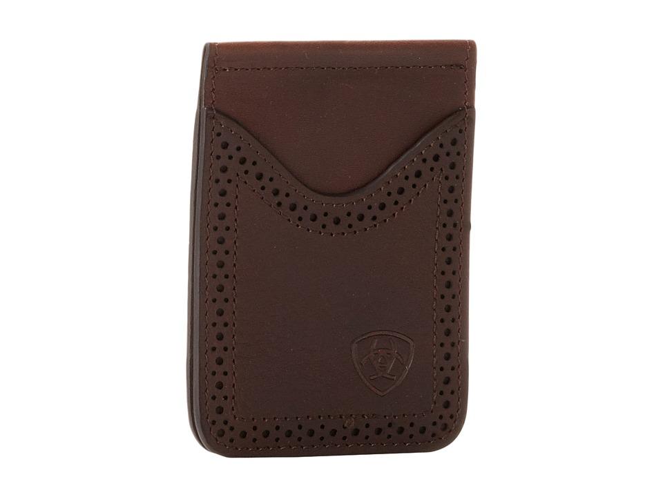 Ariat - Ariat Shield Perforated Edge Money Clip (Dark Copper) Wallet Handbags